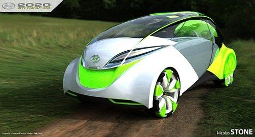 Futuristic Vehicle, Hyundai 2020 family car runs on water and sunlight, Green Car by Nicolas Stone