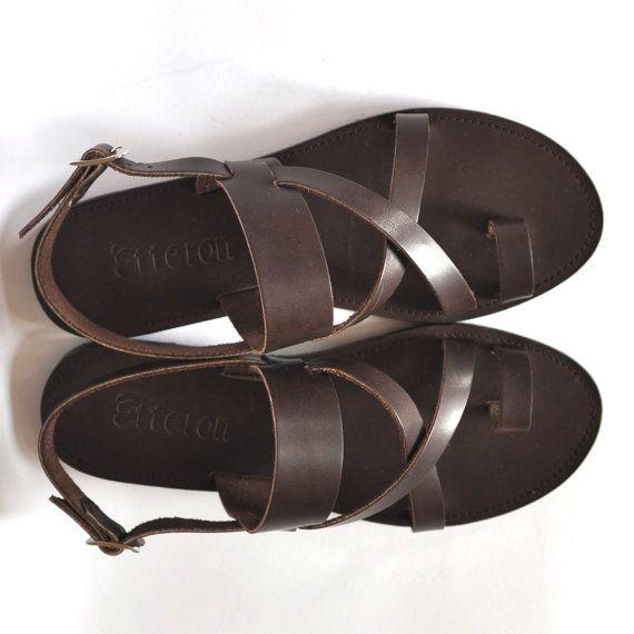 Leder Sandalen / Cross Riemen Zehe Ring Damen Sandalen / Griechisch handgemachte Sandalen / Leder, Sohlen