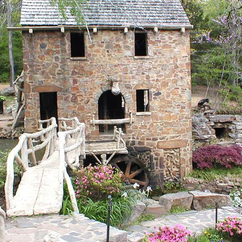 The Old Mill features unique architectural and landscaping.