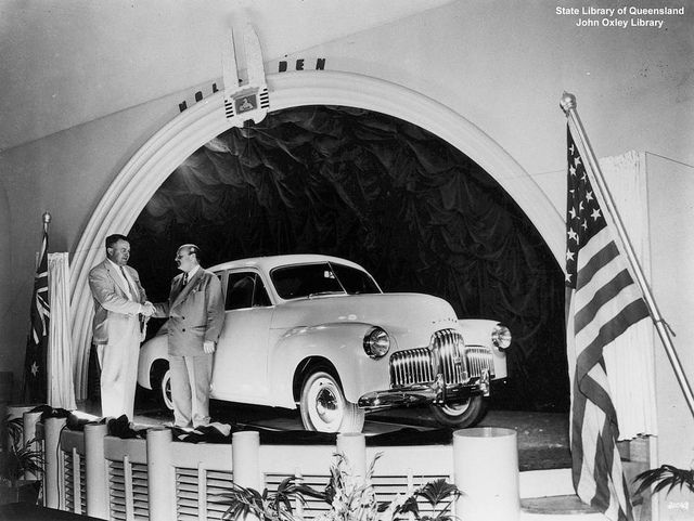 Queensland launch of the Holden 48-215 at Eagers Motors, Brisbane, 1948.  Love the shiny new car.  My first job was at Eagers, but the cars were much more modern by then ;-)