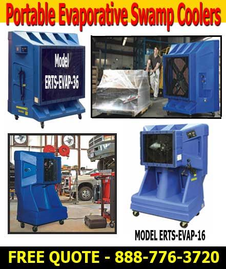 Commercial Swamp Cooler For Sale Commercial Grade Energy Efficient Evaporative Swamp Cooler Units for Work Areas.  Easy Rack's Portable Evaporative Swamp Coolers have large interior water reservoirs that permit units to function roughly 8 hours without being coupled to an exterior water source. Water is supplied to the inner tank from a typical 3/4″ water hose or from our optional water tank. Water level in internal tank is controlled by the unit's float valve.