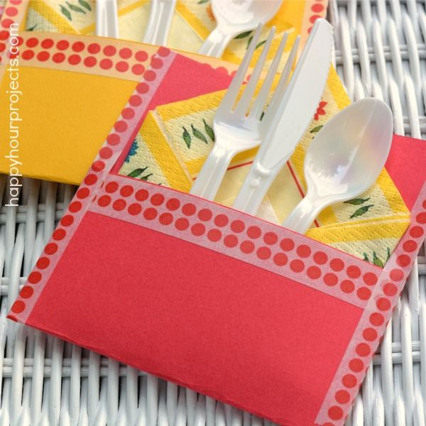 Happy Hour Projects: Cheap & Easy Washi Tape Picnic Silverware Pouch
