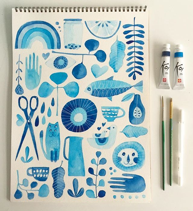 Experiments in Blue 2016: Week Seven // watercolor (and a tiny bit of white gel pen) on paper // I love drawing & painting collections of things - this one is very random & sometimes that's the way I like it! // more on the blog today (link in profile)