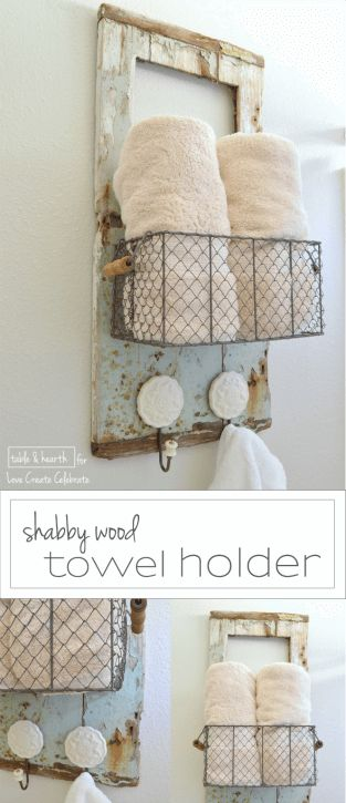 This weathered old door found on the beach was transformed into this shabby and cute towel holder for a guest bathroom.