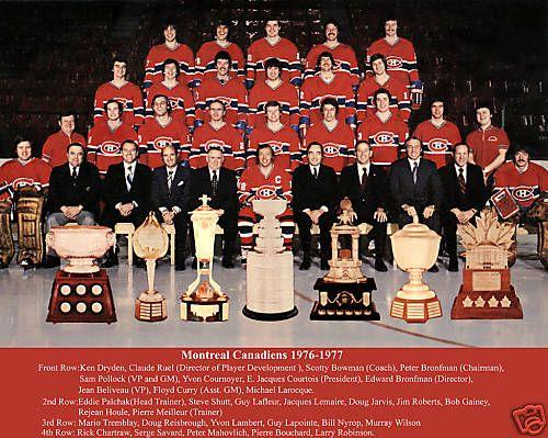 Photo d'équipe... et de trophés: Coupe Stanley, Art Ross, Hart Memorial, Conn Smyth, Lester B. Pearson, James Norris, Vézina