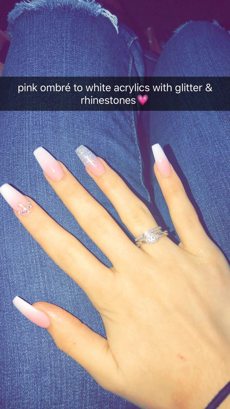 Receive Great Ideas On Acrylic Nail Art Designs Rhinestones They Are On Cal Quinceanera Nails White Acrylic Nails With Glitter Nails Design With Rhinestones Now you can with our beautiful new pink ombré nails!