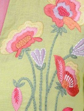 Green Roll-Up Sleeve Hand Embroidered Linen Kurta