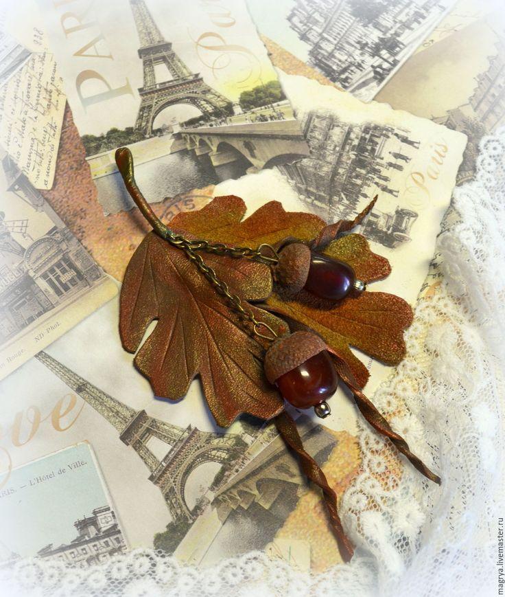 Купить Брошь кожа, сердолик Осенний Дуб - брошь, брошь цветок, кожа, кожаная брошь