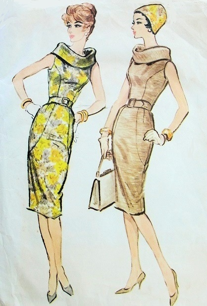 1950s RARE LUIS ESTEVEZ SLIM DRESS PATTERN STRIKING LARGE ROLLED BIAS COLLAR, PRINCESS SEAM DETAILS, SLIM WIGGLE STYLE MAD MEN  McCALLS