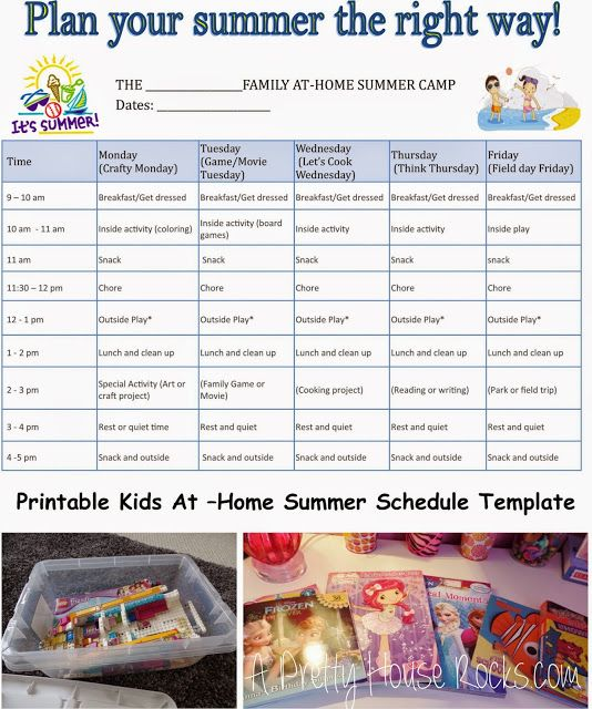A Pretty House Rocks - Home Decorating Blog : Kids At-Home Summer Camp Schedule - Printable Temp...
