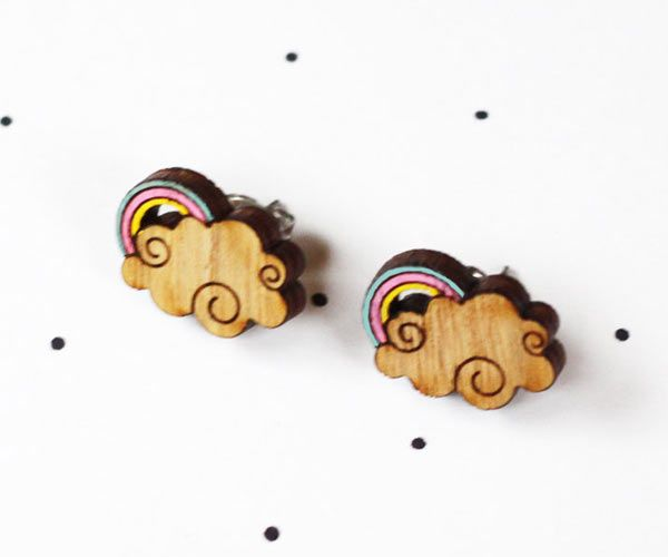 These cute little #rainbow #earrings by @:: so little time :: so much to see:: are hand painted and too cute to boot. Made from locally sourced wood, cut within Melbourne, hand-painted...