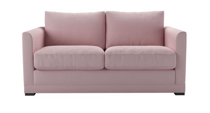 Aissa 2 Seat Sofa Bed In Powder Pink Brushed Linen Cotton Sofa