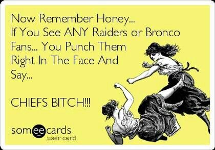 Kansas City Chiefs Bitch!!!  I do cheer for the Broncos, but only because I'm in LOVE with Peyton Manning!! Lol!