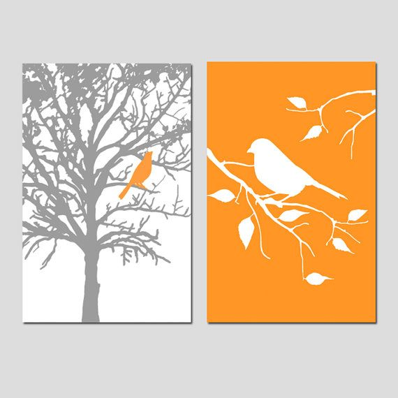 Set of Two 13x19 Prints Birds and Trees Bathroom by Tessyla