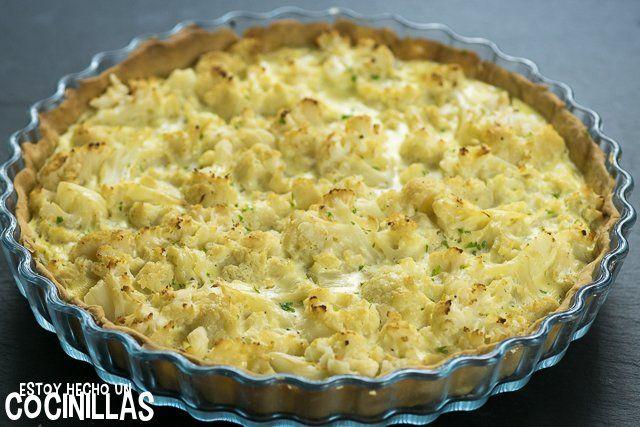 Cómo hacer quiche de coliflor. Receta fácil paso a paso. Aprende a preparar una deliciosa tarta salada con coliflor. Perfecta para la cena. ¡Está buenísima!