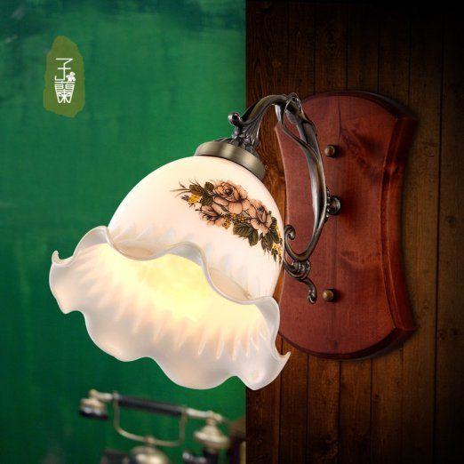 Continental lampada da parete antico muro / comodino singola testa / epoca in ferro battuto lampada da letto soggiorno giardino-1 EURO 106,00