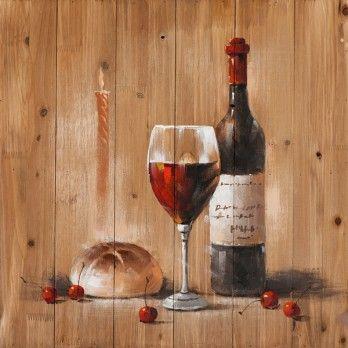 schilderij wijnfles op steigerhout  60x60
