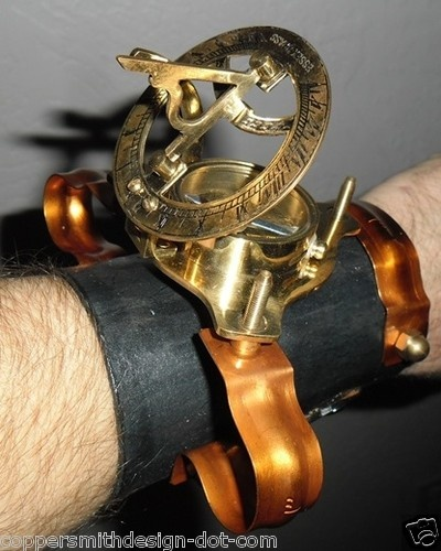 CUSTOM STEAMPUNK PIRATE ARMLET bracelet sundial & compass: Pirates Armlet, Steampunk Bracelets, Steampunk Cuffs, Bracelets Sundial, Custom Steampunk, Steampunk Pirates, Pirates Bracelets, Pirates Stuff, Sundial Compass