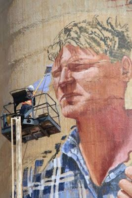 Patchewollock silo. Nick Hulland farmer of Patche is the subject of the social-realist styled Fintan Magee. Wimmera Mail Times
