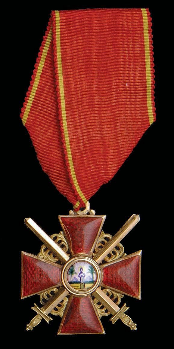 Imperial Russian Order of St. Anne, instituted in 1735, Military, 3rd Class.