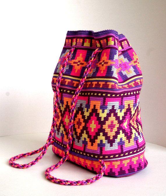 Colorato all'uncinetto mochila colorato originale zaino