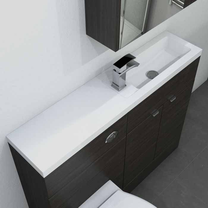 Slimline basin with integrated countertop