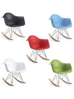 Eames style RAR, Design schommelstoel Stalen basis. Plastic top. Chroom frame schommelstoel