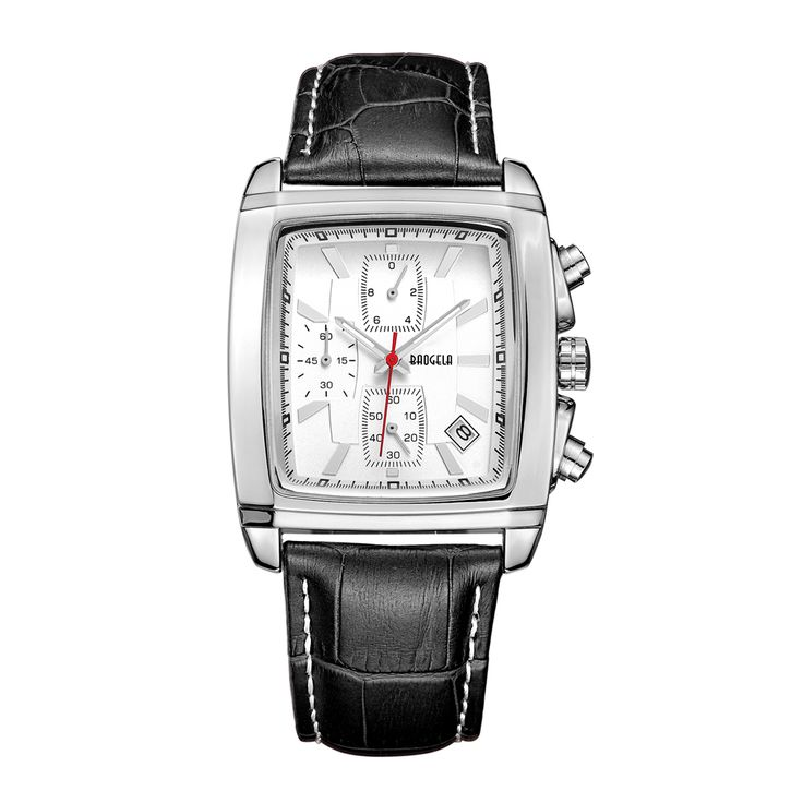 Baogela Men's Classy Retro Vintage Stainless Steel Rectangle Case Leather Band Luxury dress Watch relogio masculino