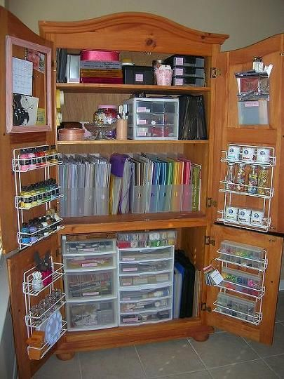 Repurposed Armoire For Scrapbooking Storage - 22 Clever And Inspirational DIY Ideas