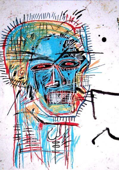 Gran cabeza de Jean Michel Basquiat El expresionismo busca reflejar lo que son los sentimientos, en este caso se predomina el cruce de lineas rayas en la cabeza lo cual se puede analizar como locura o miedo asi mismo como con el poco detalle facial sino mas que para identificar la forma
