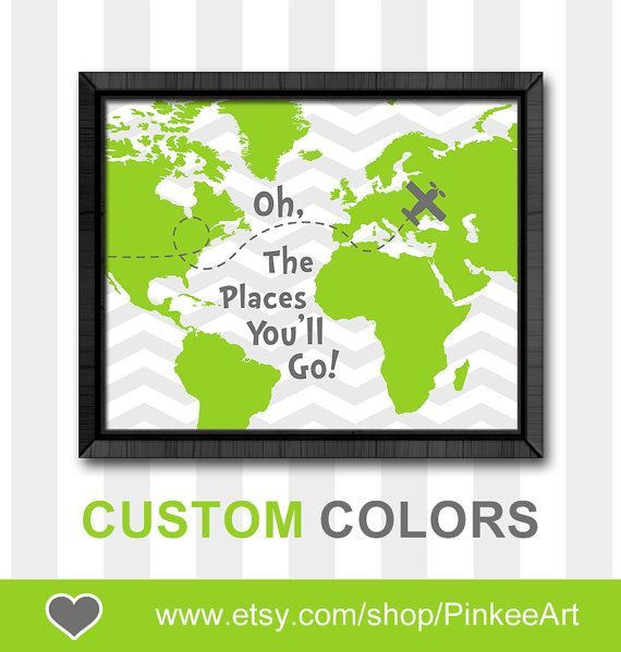 Dr seuss quote print boy nursery decor oh the places you will go map oh the place you'll go kids wall decor childrens room art playroom art by PinkeeArt, $11.00