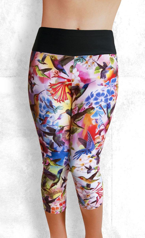 Capri Leggings - Humming Birds and Flowers - Funtastic Activewear