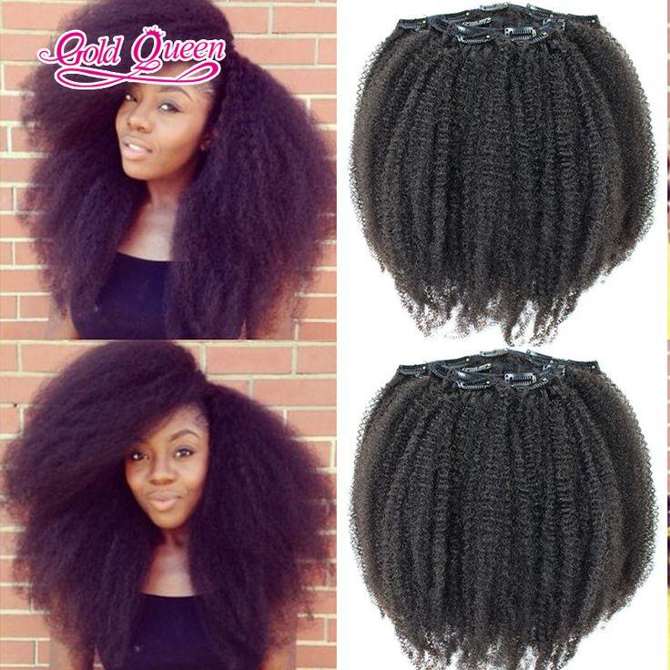 Beautiful afro kinky curly hair virgin brazilian hair clip in 7pcs/set black clip in hair extensions real human hair 100g/set
