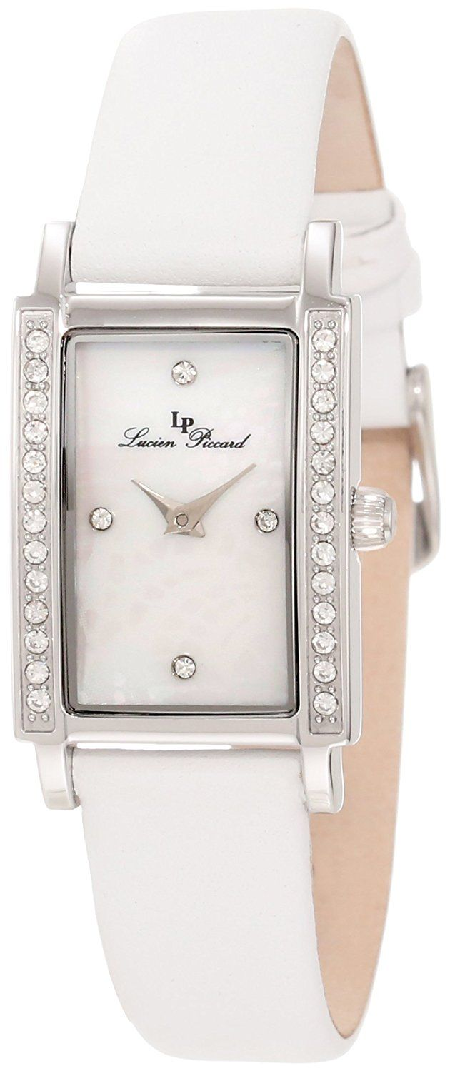 Lucien Piccard Women's 11673-02MOP Monte Baldo Crystal White Leather Watch ** Click image to review more details.