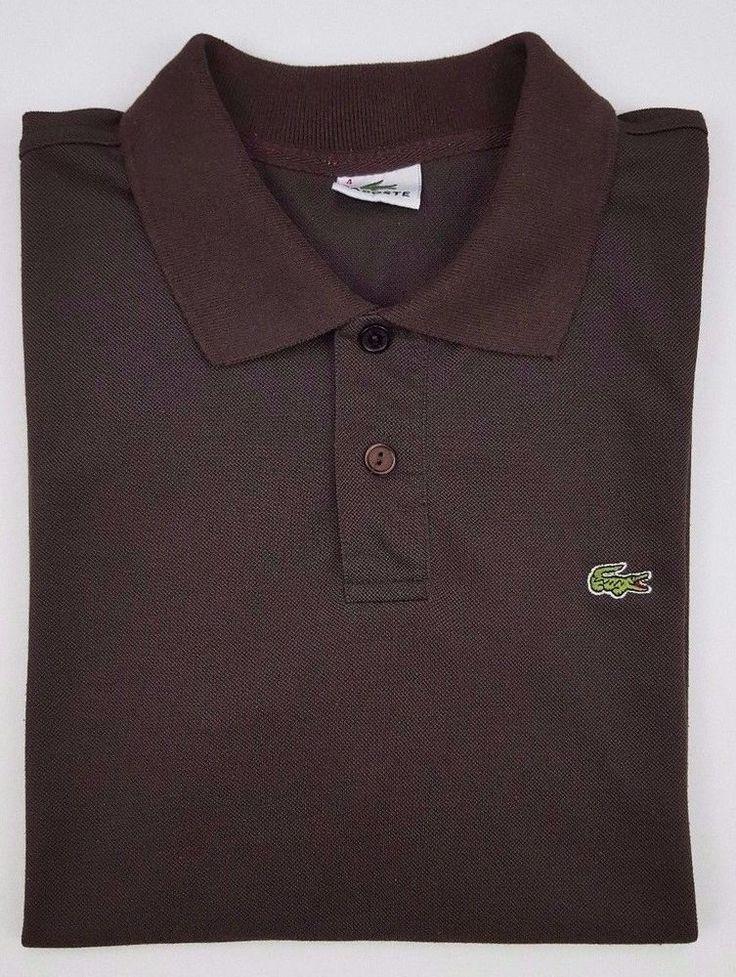 Lacoste Polo Shirt Small Brown Mens Croc Solid France Cotton Blend La Chemise Sz #Lacoste #PoloRugby