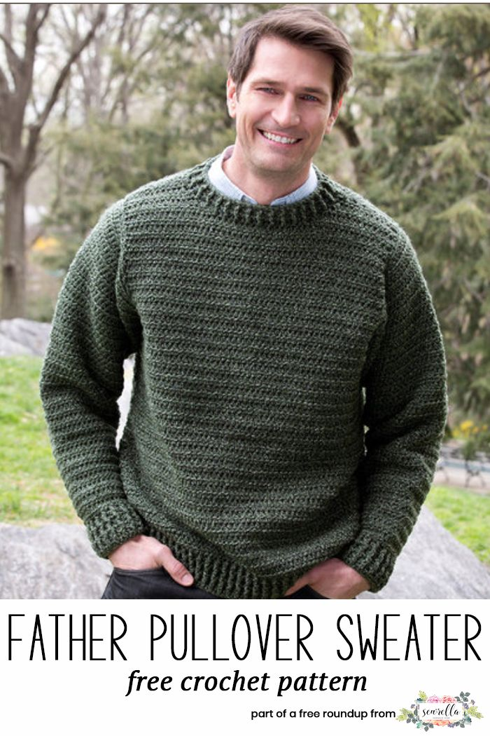 754391033b2ec2 Get the free crochet pattern for this Crochet Father Pullover Sweater from  Red Heart featured in my husband-approved crochet sweaters for men FREE  pattern ...