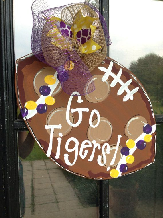 Football door hanger. LSU. Auburn. Alabama. by SummerDuffyDesign