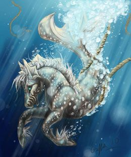 The Hippocampus is a glamourous animal of the ocean. They were the pets of the sea and horse god, Poseidon and would draw his chariot across the sea. They have the upper-half of a horse and the lower-half of a fish or dolphin. They love being out at sea and are fairly strong creatures with lots of stamina. They are devotional to their god and like to spend time with their fellow Hippocampi.