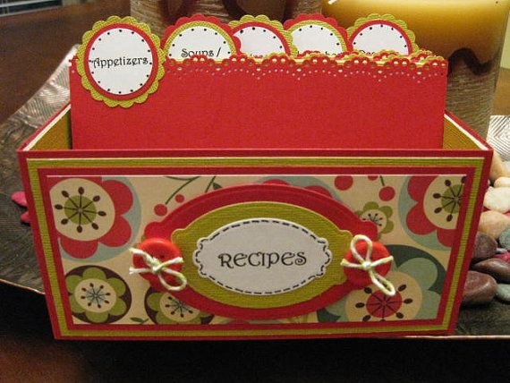 Handmade Recipe Card Box / Holder -- 2012-46...  In stock Ready to Ship
