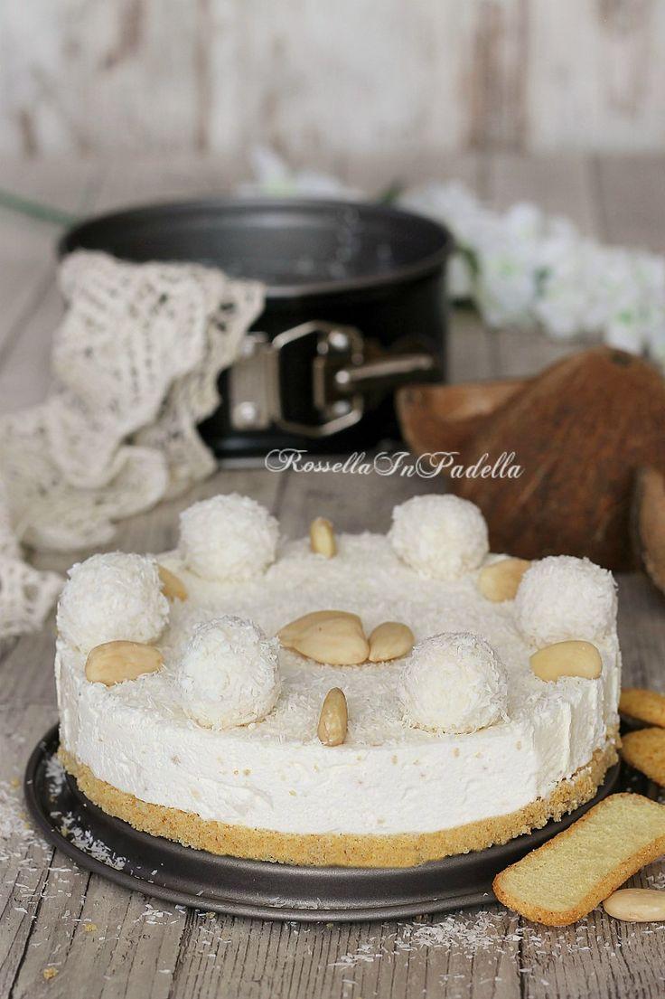 TortTorta Raffaello senza cottura, al cocco e mandorlea fredda Raffaello al cocco e mandorle
