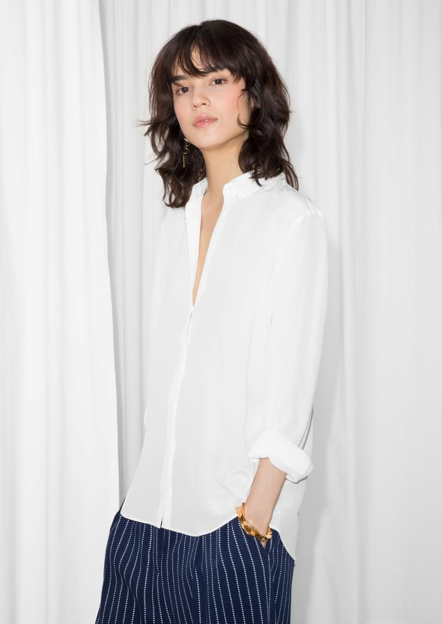 & Other Stories image 1 of Relaxed Fit Cotton Button-Down in White #buttondownshirt