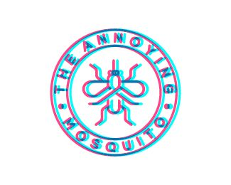 The disturbing mosquito - logo with stereoscopic effect, anaglyph, mosquito