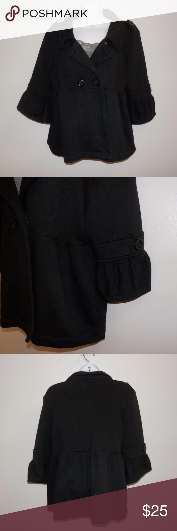Sz L Luii Anthropology Black Pea Coat 3/4 Sleeve` Luii Sz L Black pea coat with 3/4 sleeves. Sweat shirt material. Super comfy. Good condition Anthropologie Jackets & Coats Pea Coats