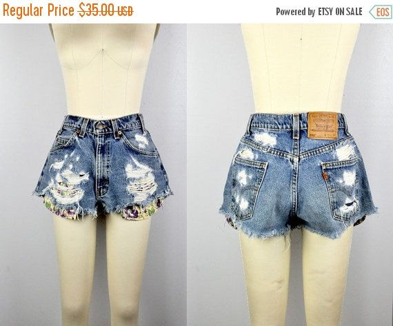 SALE Distressed Shorts LEVIS Shorts Ripped by ItaLaVintage on Etsy