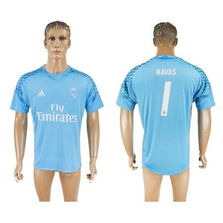 Real Madrid 16-17 #Navas 1 Blå målmand Trøje Kort ærmer,208,58KR,shirtshopservice@gmail.com