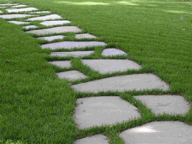 Maybe something like this through the grass once we extend it to the concrete wall?