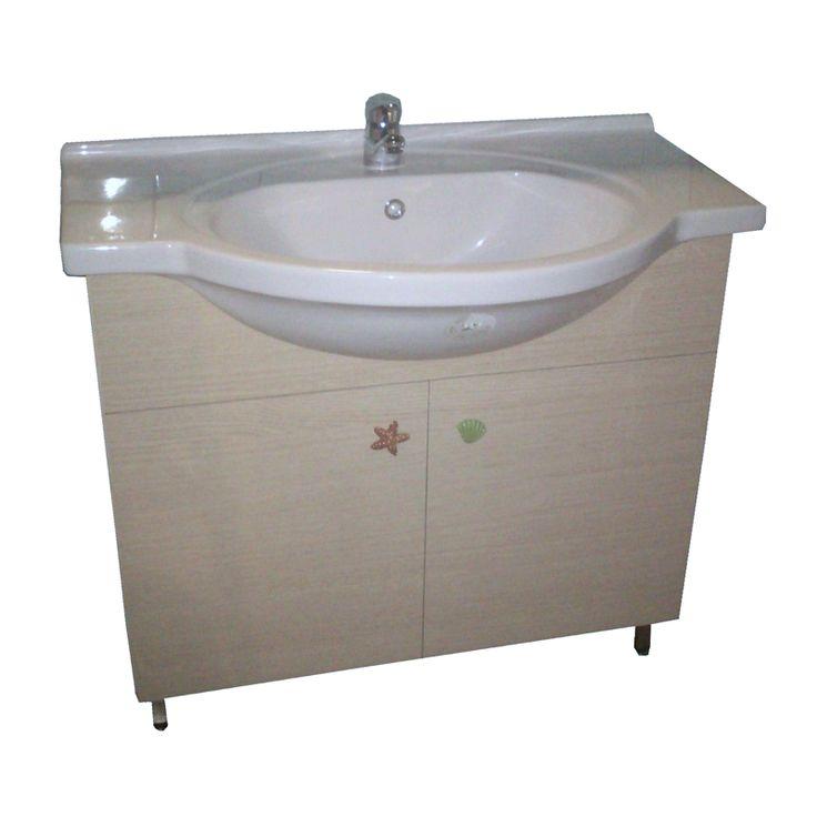Έπιπλο μπάνιου από ανάγλυφη μελαμίνη, μεταλλικά ποδαράκια και ιδιαίτερα πόμολα.