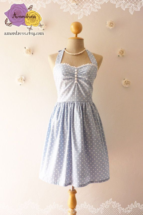 Pale Blue Dress Tea Length Dress Classic Polka Dot Dress Bridesmaid Party Dress Once Upon A Time  -Size XS, S, M, L, CUSTOM-