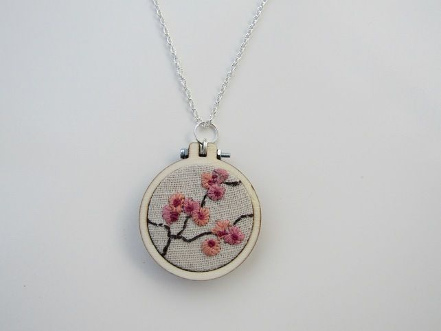 Beautiful embroidery hoop necklace £19.99