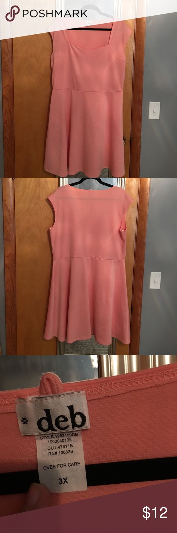 Peach colored plus size dress. Peach colored dress. Size 3x. Never worn. Came from Deb shop. Smoke free environment. Deb Dresses